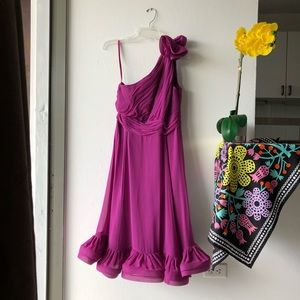 Donna Ricco Dress, ruffle hem, one shoulder, Sz 8